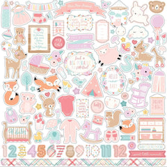 Echo Park Hello Baby Girl Cardstock Stickers 12 inch X12 inch Elements