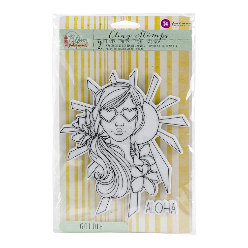 Prima - Bloom Cling Rubber Stamps 8X6 - Goldie