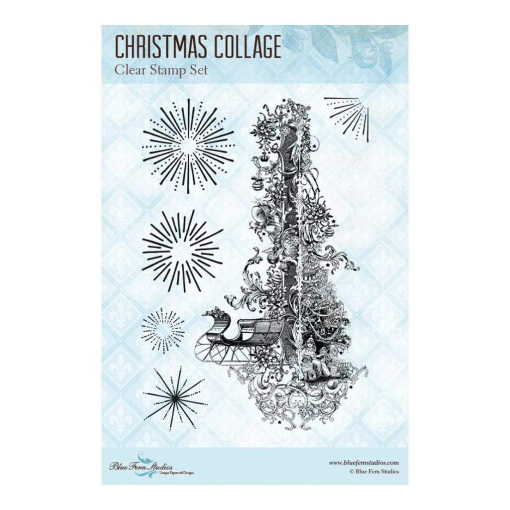 Blue Fern Studios Clear Stamps 4 inch X6 inch Christmas Collage