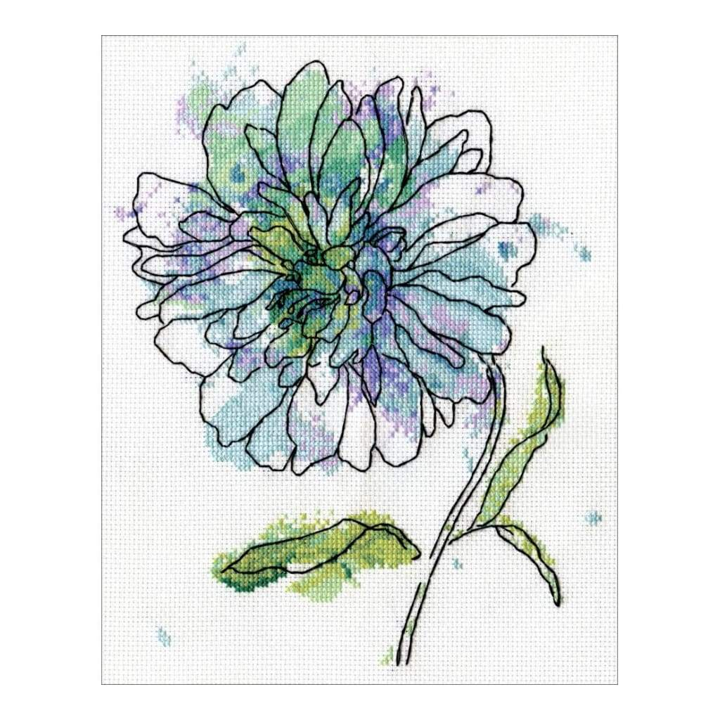 Blue Floral Counted Cross Stitch Kit 8 inch X10 inch 14 Count
