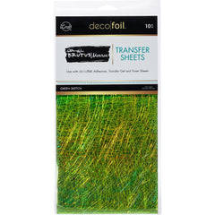 Therm O Web - Brutus Monroe Deco Foil - Transfer Sheets 6 inchX12 inch 10 pack - Green Sketch