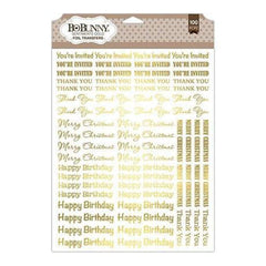 Bo Bunny - Essentials Foil Transfer 9 Inch X12.5 Inch - Sentiments/Gold