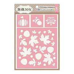 Bo Bunny - Essentials Stickable Stencil 12 Inch X12 Inch  - Falling Leaves