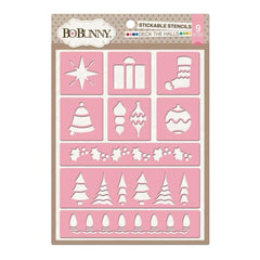 Bo Bunny - Essentials Stickable Stencils 9.5 inch X6.5 inch - Deck The Halls