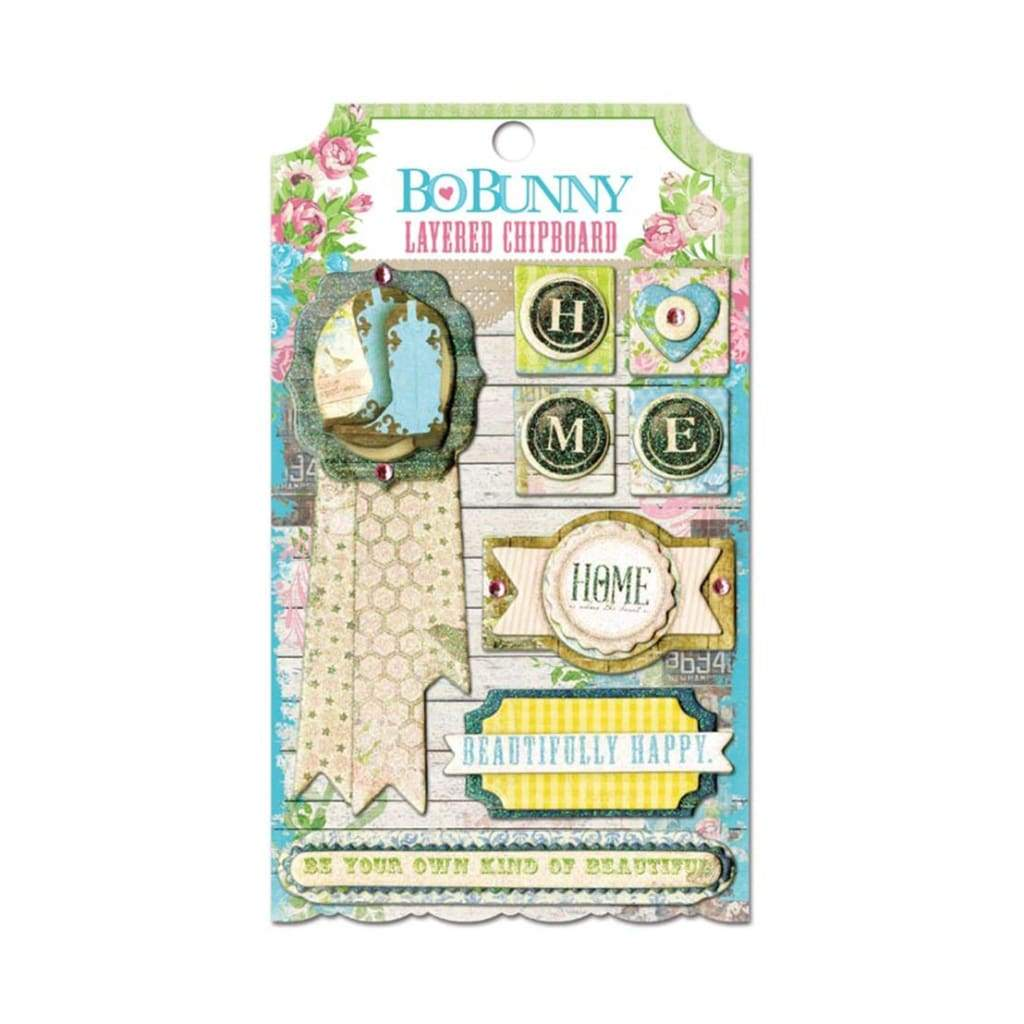 Bo Bunny Press - Prairie Chic - Layered Chipboard Stickers