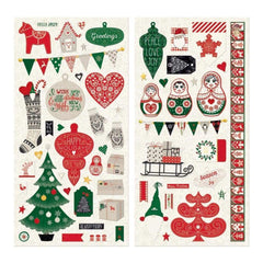 Bobunny - Merry & Bright Adhesive Chipboard Accents 6 inch X12 inch 2 pack
