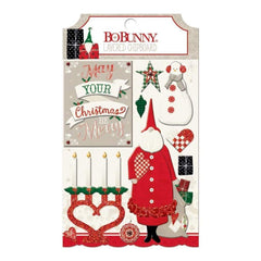 BoBunny - Merry & Bright Adhesive Layered Chipboard W/Glitter & Gems