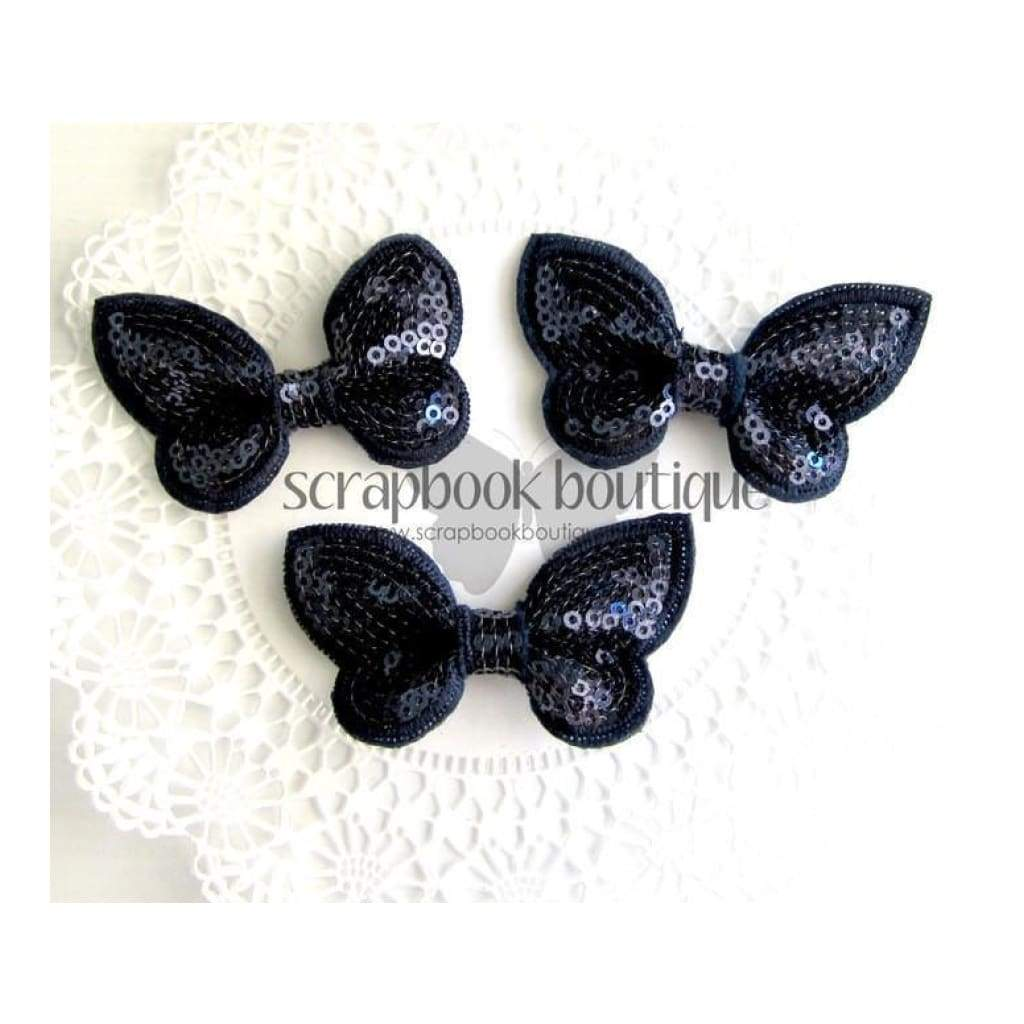 Boutique Crafts - Sequin Butterflies - Navy - 6Cm (3 Pack)