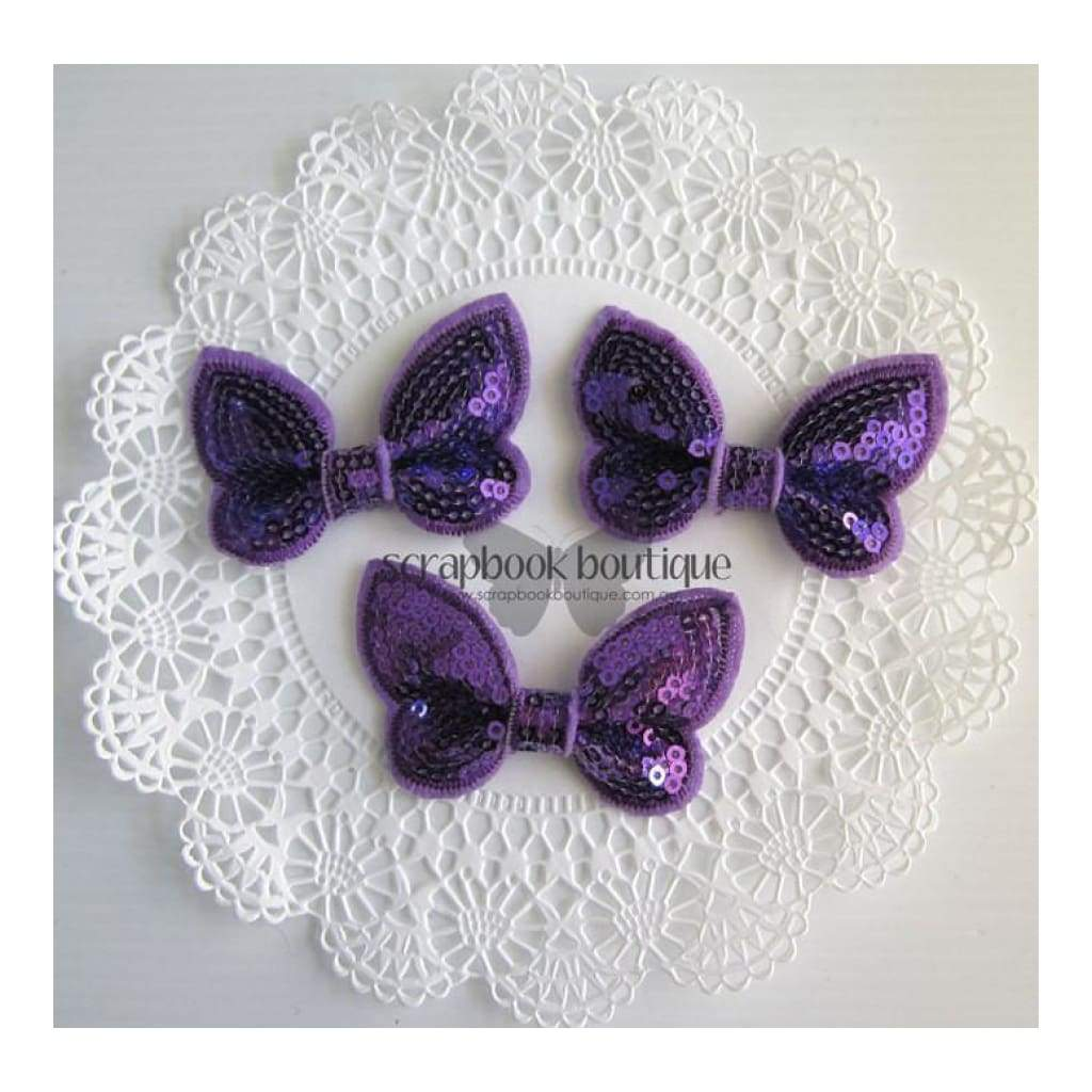 Boutique Crafts - Sequin Butterflies - Purple - 6Cm (3 Pack)