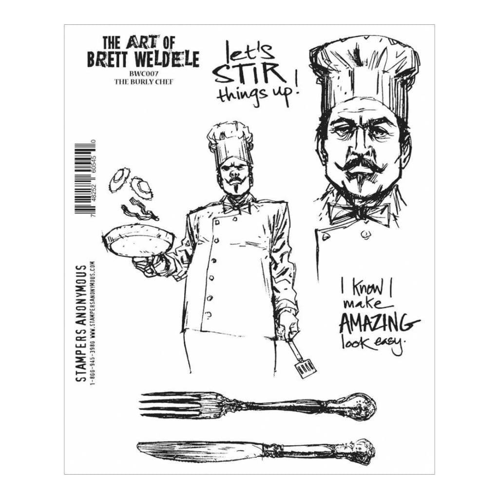Brett Weldele Cling Rubber Stamp Set 7X8.5 The Burly Chef