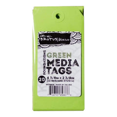 Brutus Monroe Media Tags 4.75 inch X2.38 inch 20 pack Green