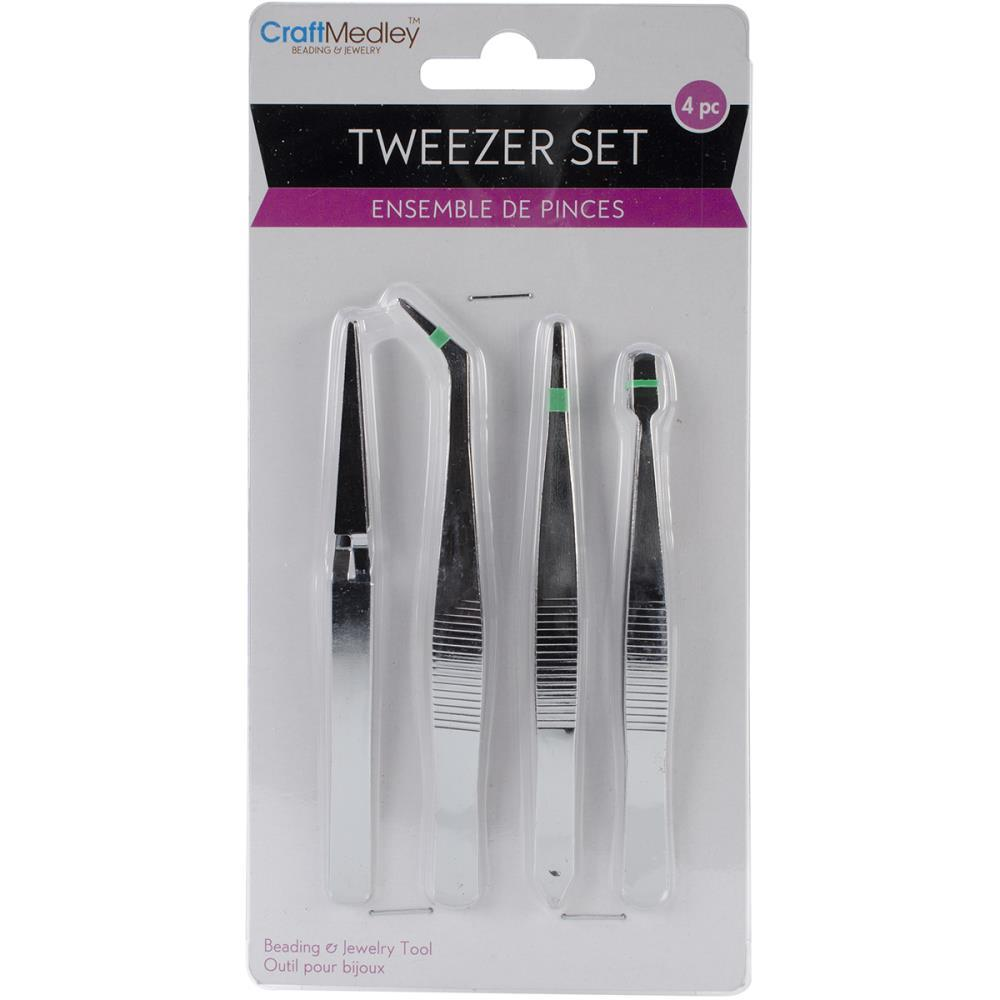 Multicraft Imports - Tweezers 4 pack - 4.75 inch