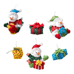 Bucilla Felt Ornaments Applique Kit 4.5 inch X4.5 inch Set of 6 Snowmen with Presents