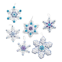 Bucilla Felt Ornaments Applique Kit 4 inch X4 inch Set Of 6 Sparkle Snowflake