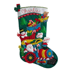 Bucilla Felt Stocking Applique Kit 18 inch Long Choo Choo Santa