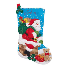Bucilla Felt Stocking Applique Kit 18 inch Long Down The Chimney