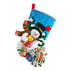 Bucilla Felt Stocking Applique Kit 18 inch Long Forest Friends