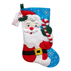 Bucilla Felt Stocking Applique Kit 18 inch Long Hello Santa