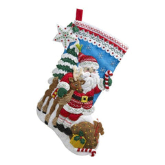 Bucilla Felt Stocking Applique Kit 18 inch Long Nordic Santa