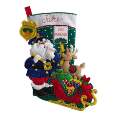 Bucilla Felt Stocking Applique Kit 18 inch Long Officer Santa