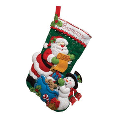Bucilla Felt Stocking Applique Kit 18 inch Long Santa List