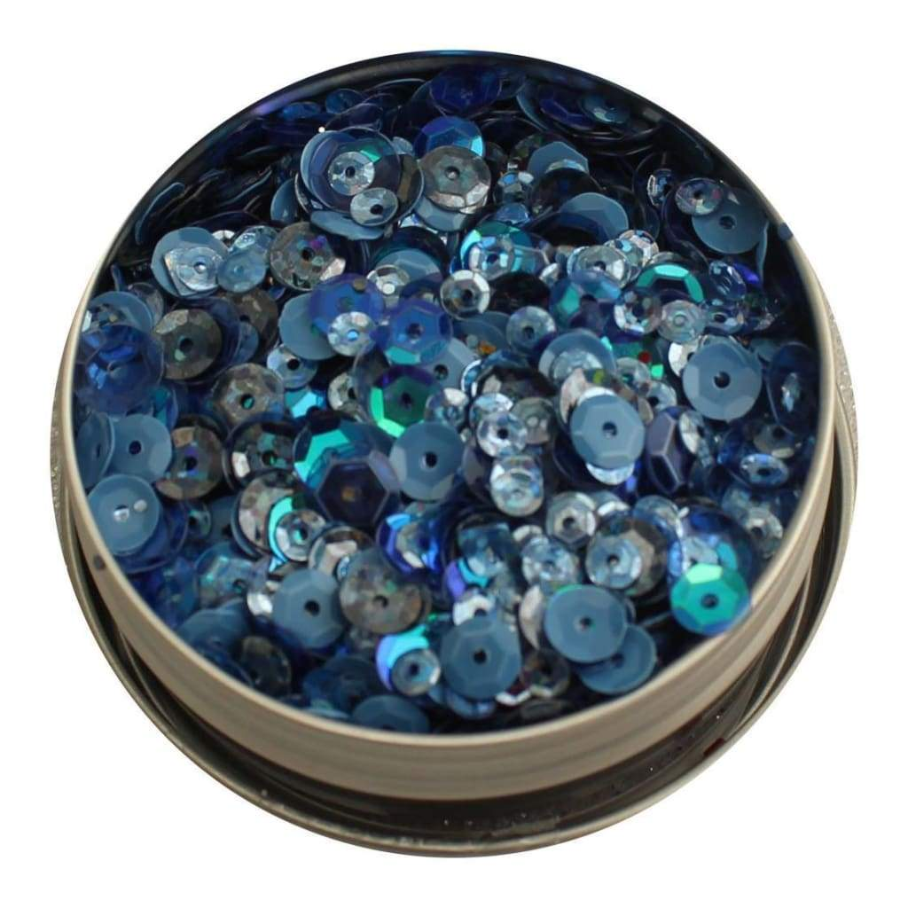 Buttons Galore - 28 Lilac Lane Tin with Sequins 40g Denim Blues