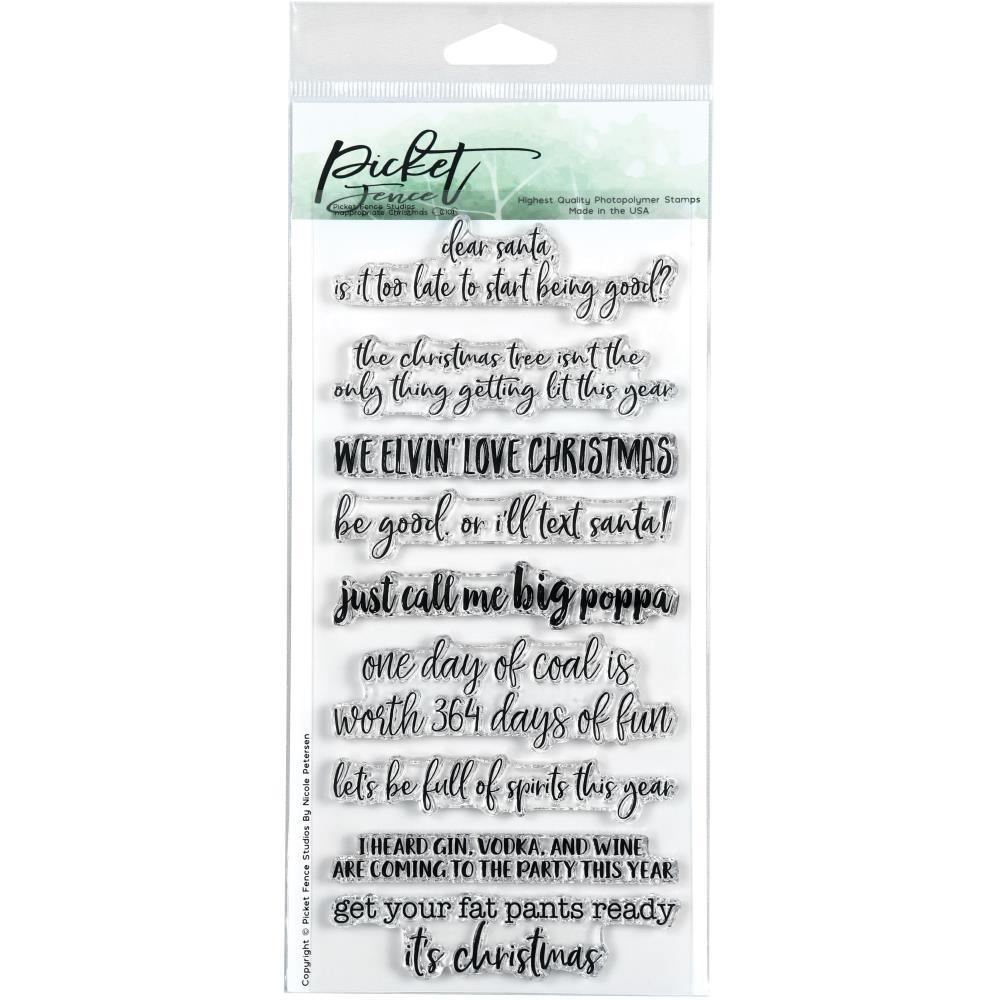 Picket Fence Studios 4 inchX8 inch Stamp Set - Inappropriate Christmas
