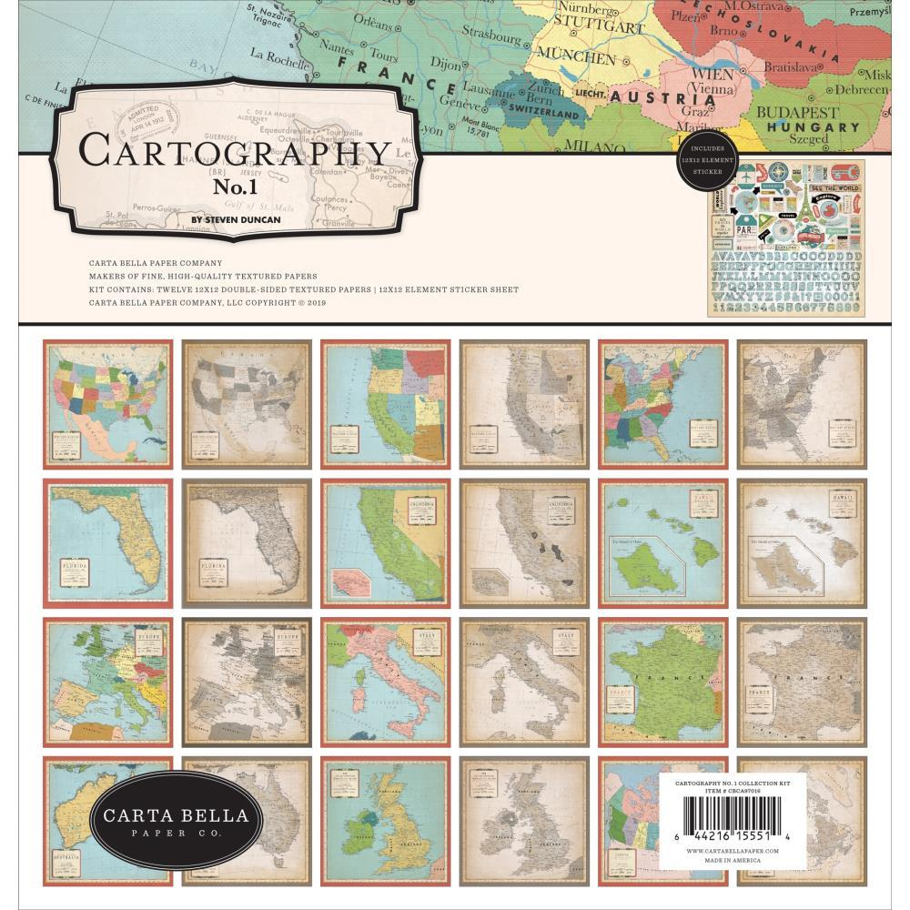 Carta Bella Collection Kit 12 inch X12 inch - Cartography No.1