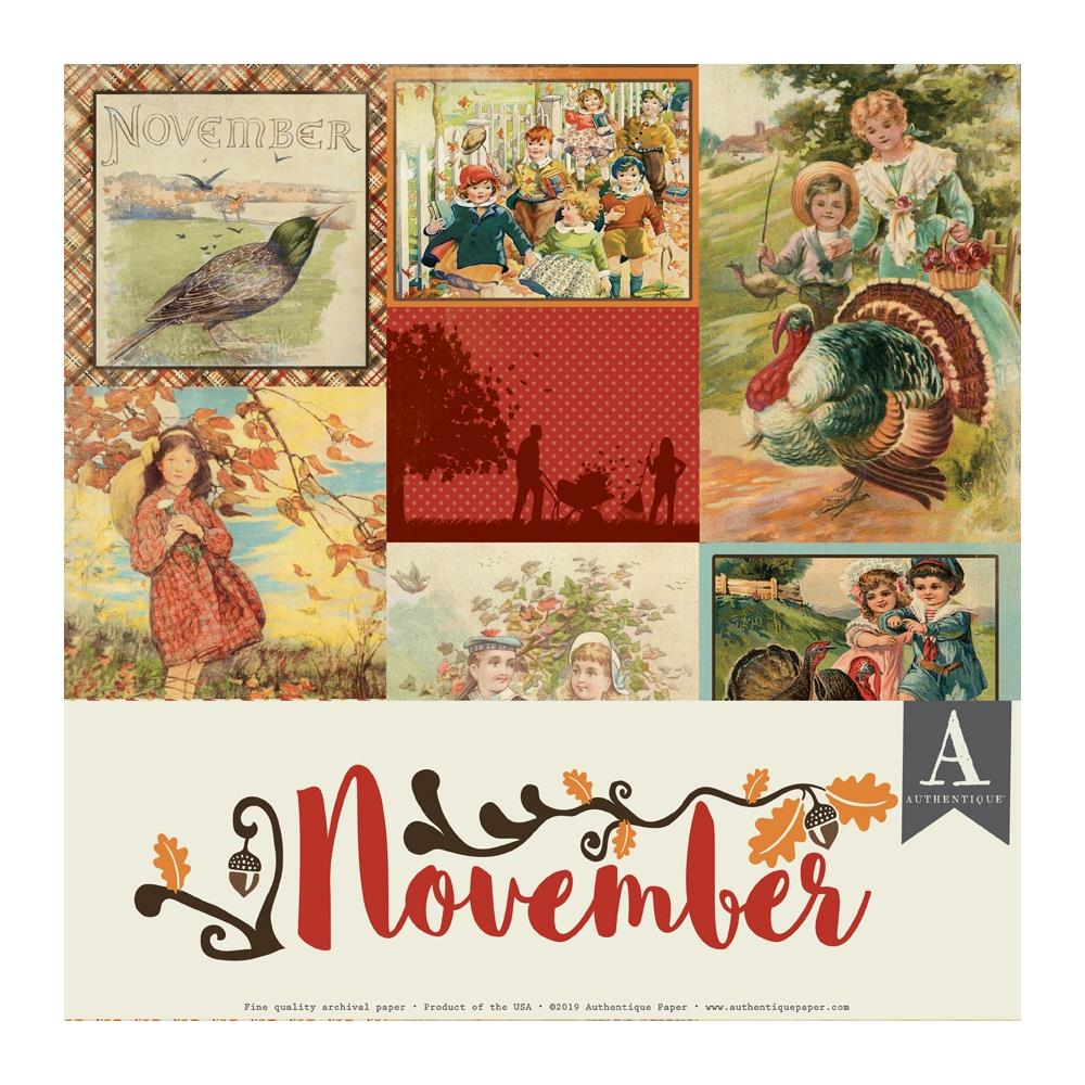 Authentique Double-Sided Cardstock Pack 12in X 12in 11 pack - November