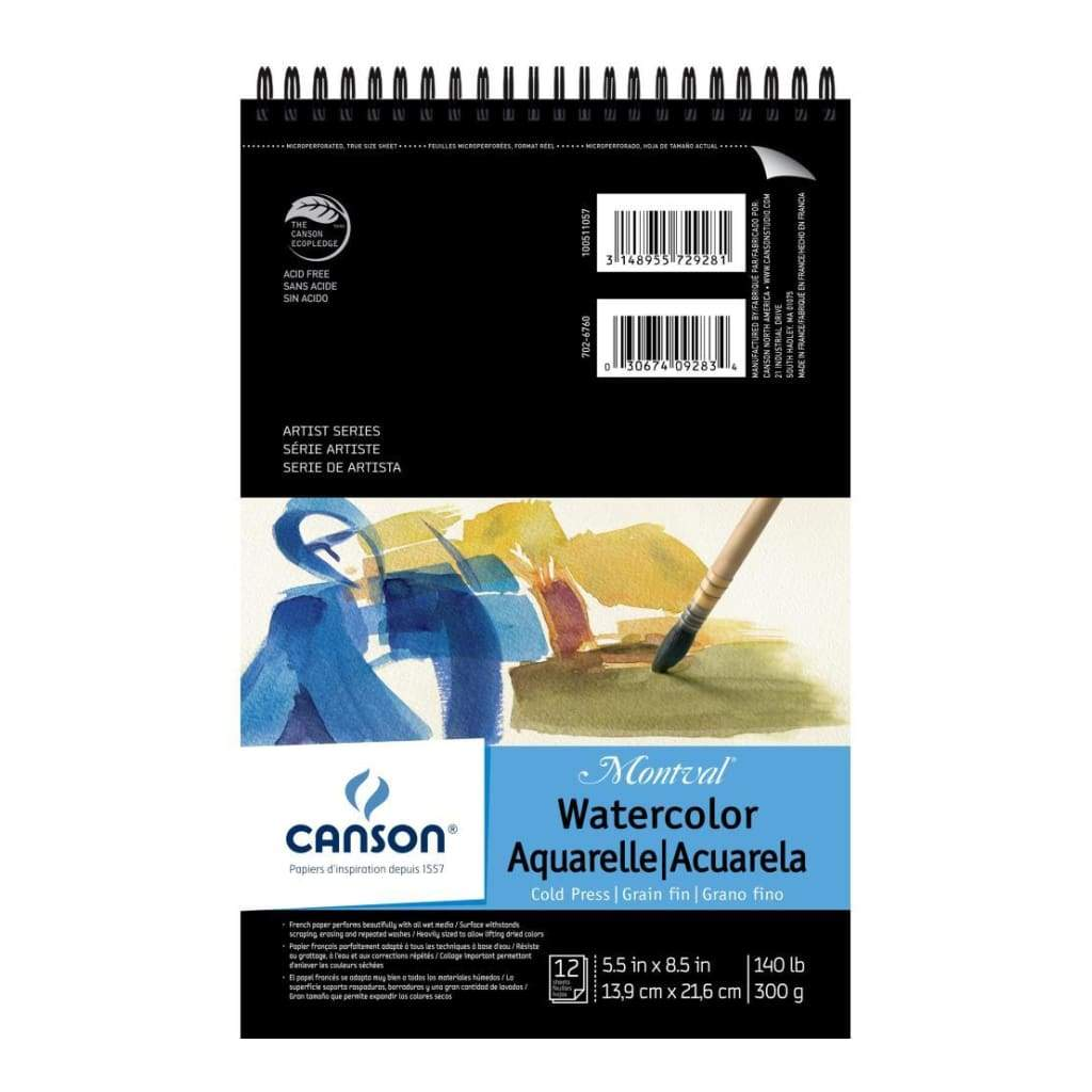 Canson Montval Spiral Watercolour Pad 5.5X8.5 12 Sheets - 140lb.