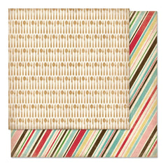 "Carta Bella - Homemade With Love Double-Sided Cardstock 12"" X 12"" Baking Stripe"