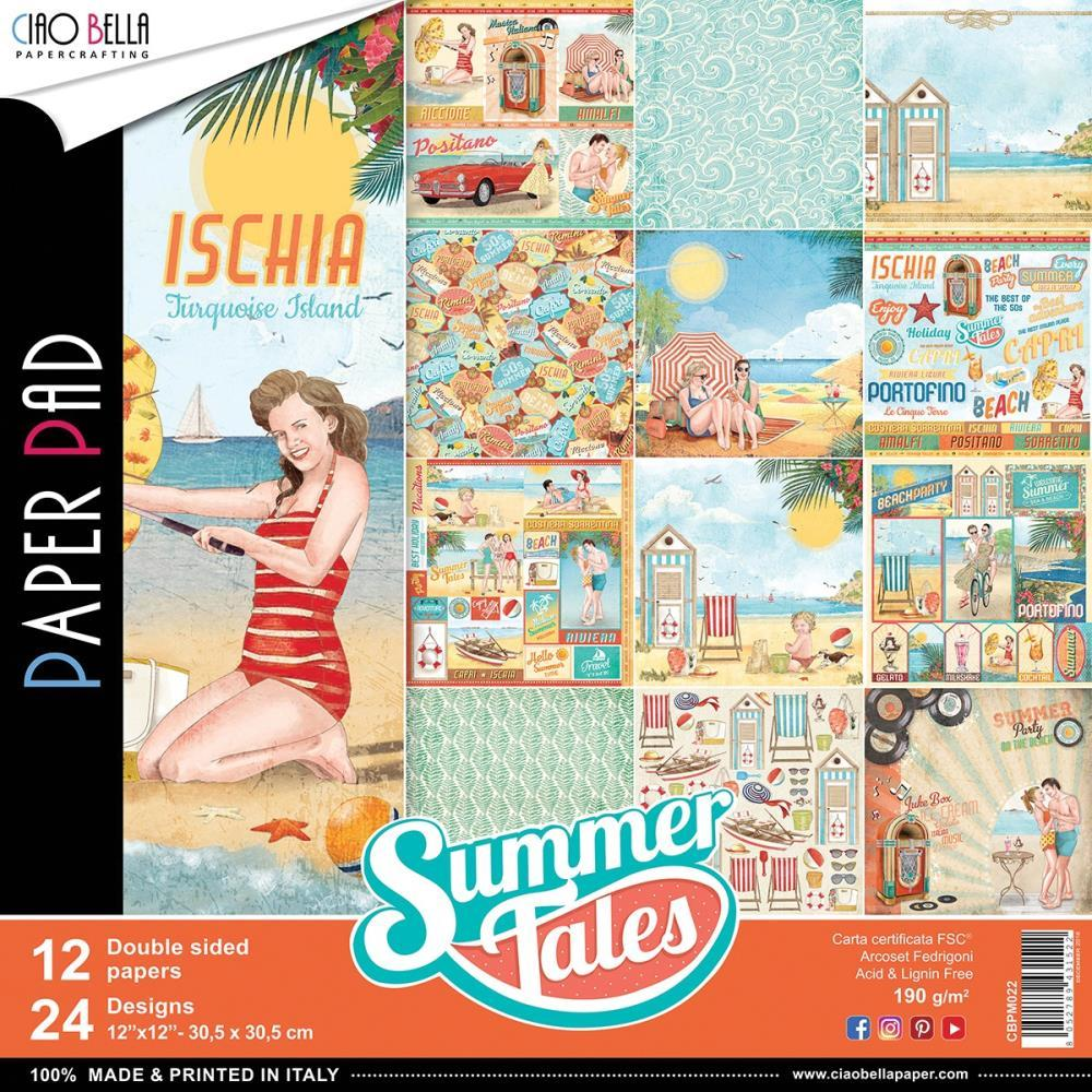 Ciao Bella - Summer Tales Double-Sided Paper Pack 90lb 12 inch X12 inch 12 pack