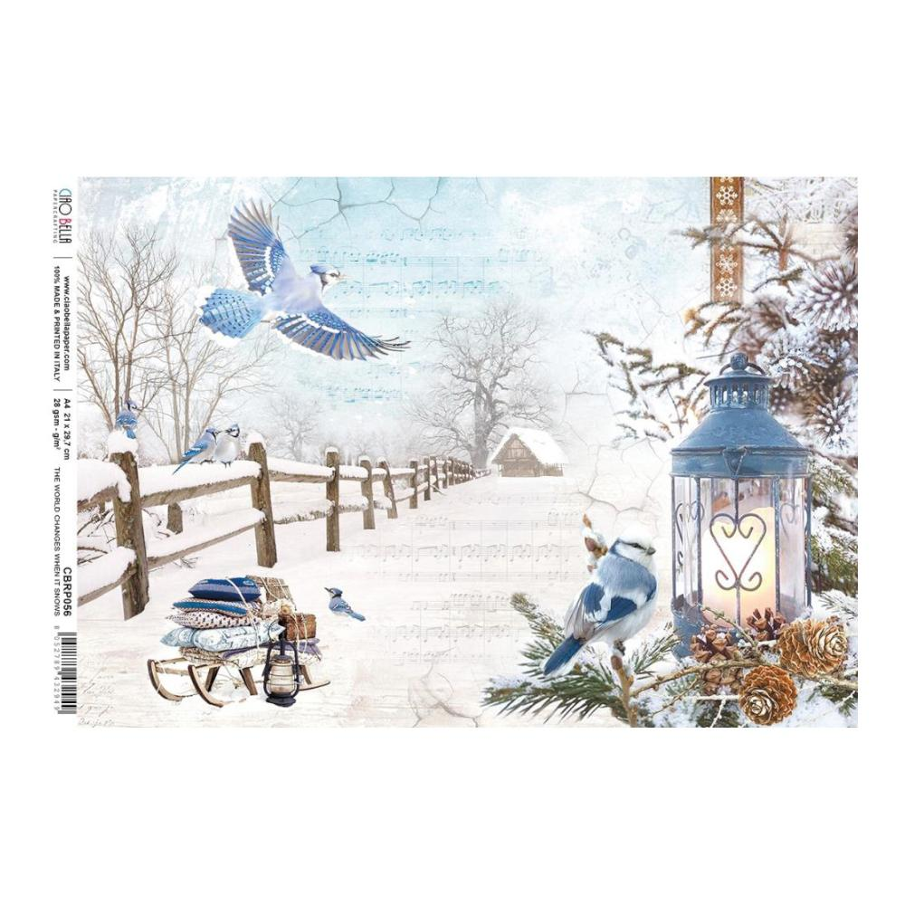 Ciao Bella - Decoupage Rice Paper A4 - World Changes When Snows, Time For Home