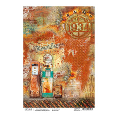 Ciao Bella - Decoupage Rice Paper A4 - Gas Station, Collateral Rust