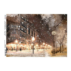Ciao Bella - Decoupage Rice Single Paper A4 - Snow Falls Soundlessly, Snow & The City