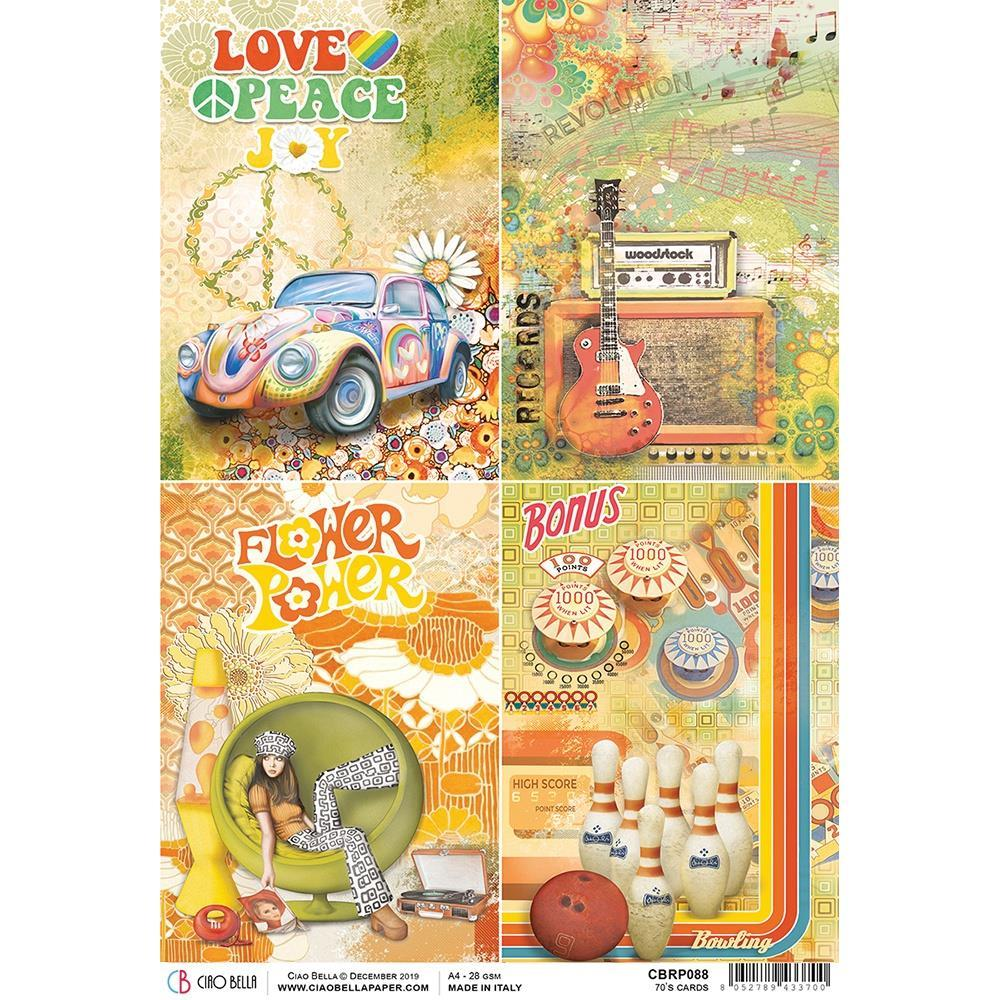 Ciao Bella Rice Paper Sheet A4 - 70s Cards - The Seventies
