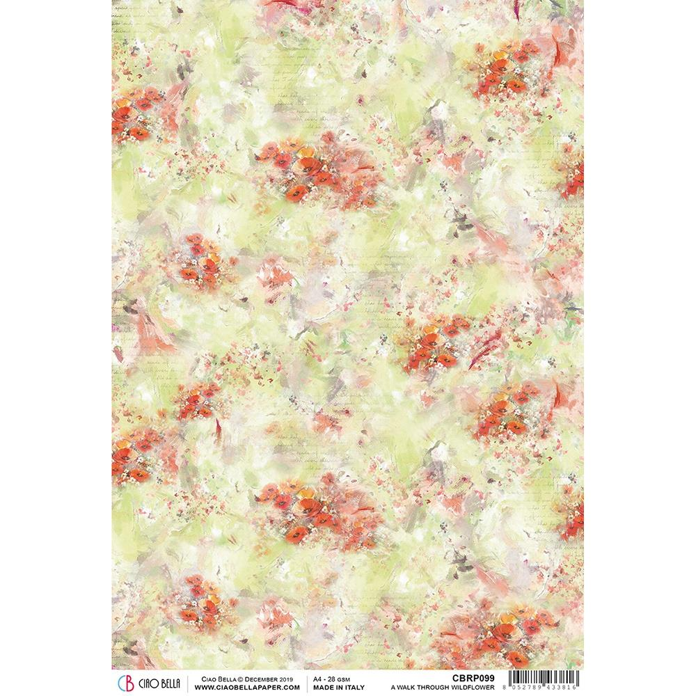 Ciao Bella Rice Paper Sheet A4 - A Walk Through Wildflowers