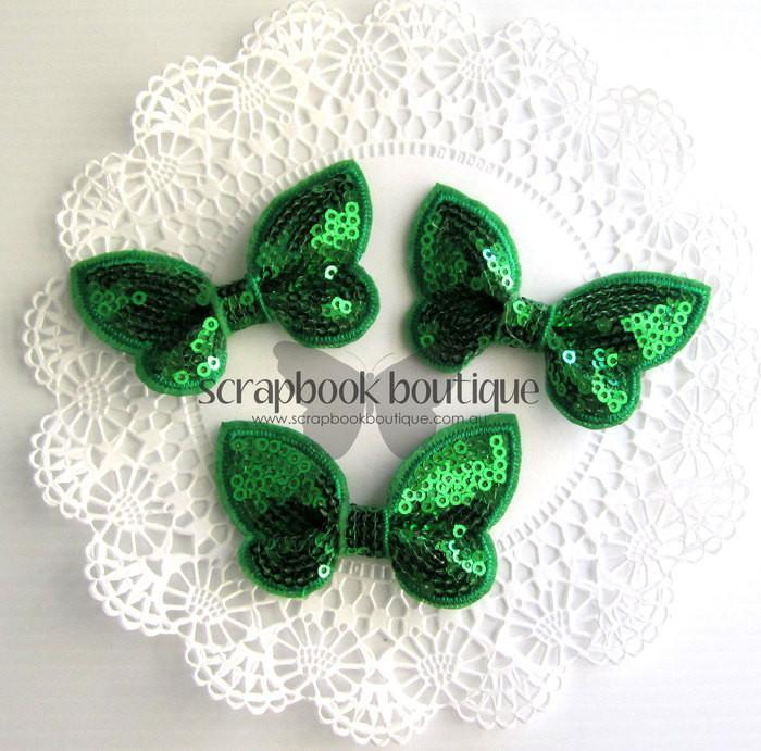 Boutique Crafts - Sequin Butterflies - Green - 6Cm (3 Pack)