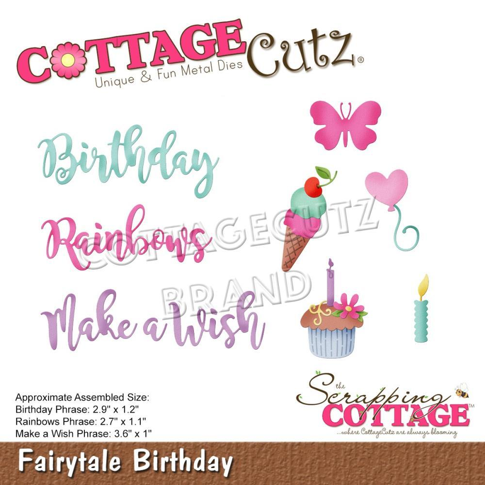 CottageCutz Dies - Fairytale Birthday .2inch To 3.6inch