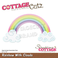 CottageCutz Dies - Rainbow With Clouds 2.7inch X1.5inch