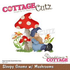 CottageCutz - Dies Sleepy Gnome  with Mushrooms 3.2 inch X3 inch
