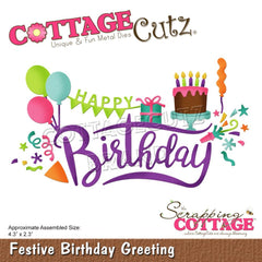 CottageCutz Dies - Festive Birthday Greeting, 4.3 inchX2.3 inch