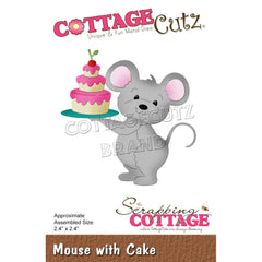 CottageCutz Dies - Mouse with Cake, 2.4 inchX2.4 inch