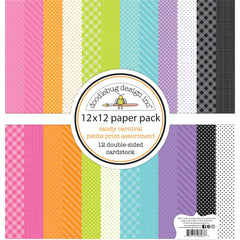 Doodlebug - Petite Prints Double-Sided Cardstock 12 inchX12 inch 12 pack - Candy Carnival, 12 Designs/1 Each