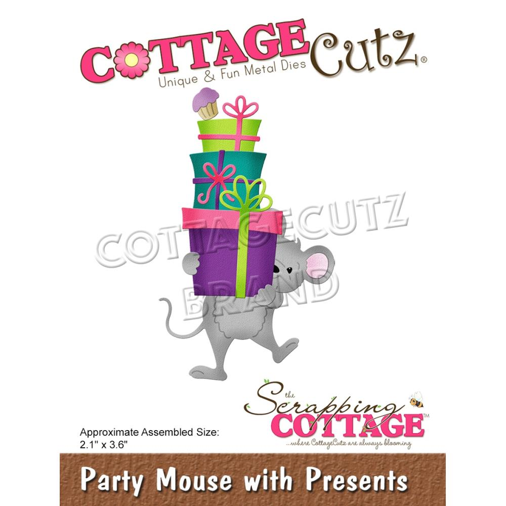CottageCutz Dies - Party Mouse with Presents, 2.1 inchX3.6 inch