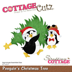 CottageCutz Dies - Penguins Christmas Tree, 3.7 inch X2.7 inch