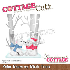 CottageCutz Dies - Polar Bears with Birch Trees, 2.5 inch X3 inch