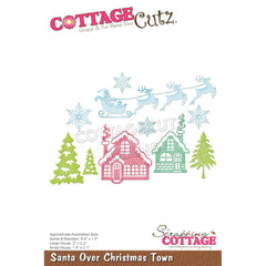 CottageCutz Dies - Santa Over Christmas Town, 4.4 inch To 1.4 inch