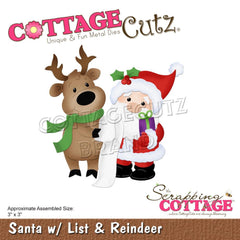 CottageCutz Dies - Santa with List & Reindeer, 3 inch X3 inch