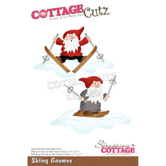 CottageCutz Dies - Skiing Gnomes, 3.7 inch To 2.3 inch